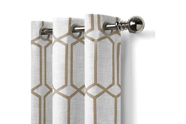 "Home Accents Kaiden Geometric Room Darkening Window Curtain Panel, Taupe, 52"" x 84"", Taupe, large"