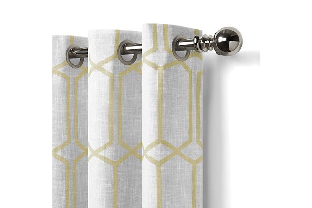 "Home Accents Kaiden Geometric Room Darkening Window Curtain Panel, Light Gold, 52"" x 95"", Light Gold, large"