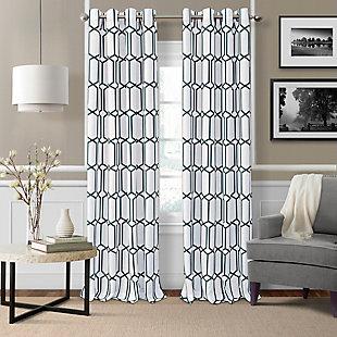 "Home Accents Kaiden Geometric Room Darkening Window Curtain Panel, Indigo, 52"" x 84"", Indigo, large"