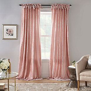 "Home Accents Korena Tie-Top Crushed Velvet Window Curtain Panel, Blush, 52"" x 95"", Blush, large"