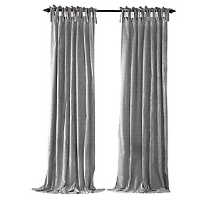 "Home Accents Korena Tie-Top Crushed Velvet Window Curtain Panel, Gray, 52"" x 84"", Gray, rollover"