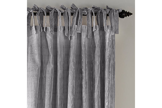 "Home Accents Korena Tie-Top Crushed Velvet Window Curtain Panel, Gray, 52"" x 84"", Gray, large"