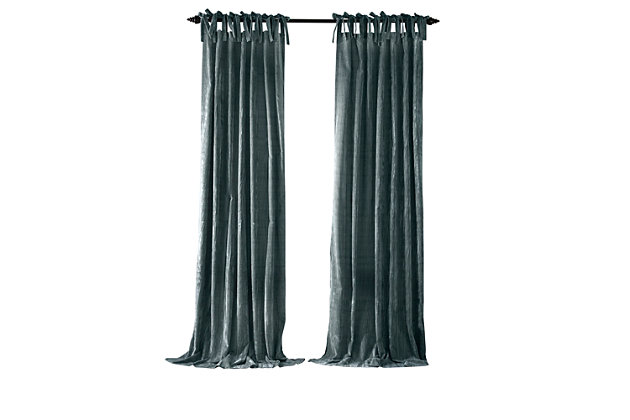 """Home Accents Korena Tie-Top Crushed Velvet Window Curtain Panel, Peacock, 52"""" x 84"""", Peacock, large"""