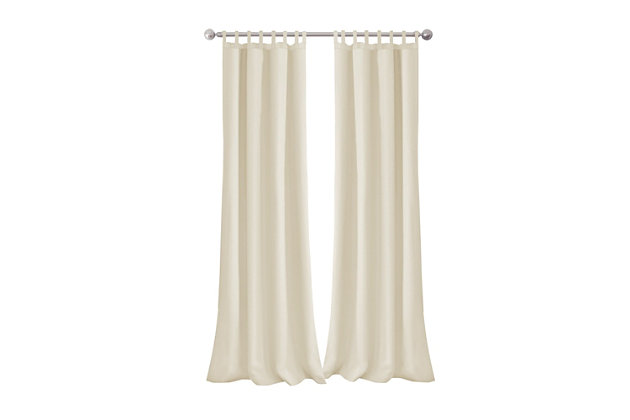 """Home Accents Matine Solid Tab Top Indoor/Outdoor Window Curtain, Ivory, 52"""" x 108"""", Ivory, large"""