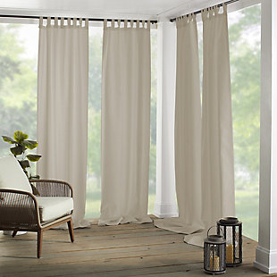 "Home Accents Matine Solid Tab Top Indoor/Outdoor Window Curtain, Taupe, 52"" x 84"", Taupe, large"