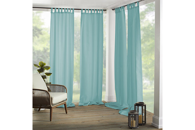 """Home Accents Matine Solid Tab Top Indoor/Outdoor Window Curtain, Mineral, 52"""" x 84"""", Mineral, large"""
