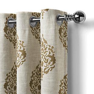 "Home Accents Navara Medallion Room Darkening Window Curtain Panel, Natural, 52""x 84"", Natural, large"