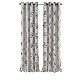"Home Accents Navara Medallion Room Darkening Window Curtain Panel, Gray, 52""x 84"", Gray, rollover"