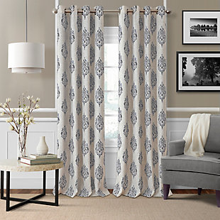 "Home Accents Navara Medallion Room Darkening Window Curtain Panel, Gray, 52""x 84"", Gray, large"