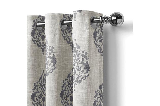"Home Accents Navara Medallion Room Darkening Window Curtain Panel, Gray, 52""x 84"", Gray, large"
