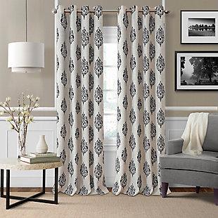 "Home Accents Navara Medallion Room Darkening Window Curtain Panel, Black, 52""x 84"", Black, large"