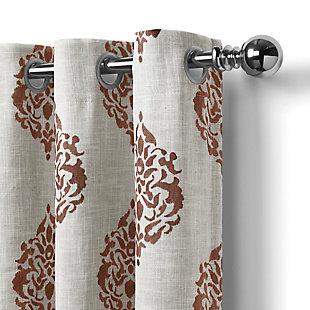 "Home Accents Navara Medallion Room Darkening Window Curtain Panel, Cinnamon, 52""x 84"", Cinnamon, large"