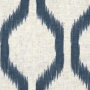 "Home Accents Renzo Ikat Geometric Linen Room Darkening Window Curtain Panel, Indigo, 52"" x 95"", Indigo, large"