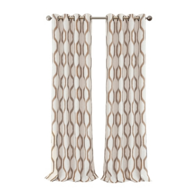 """Home Accents Renzo Ikat Geometric Linen Room Darkening Window Curtain Panel, Natural, 52"""" x 84"""", Natural, large"""