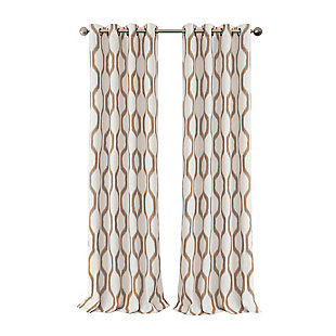 "Home Accents Renzo Ikat Geometric Linen Room Darkening Window Curtain Panel, Natural, 52"" x 84"", Natural, rollover"