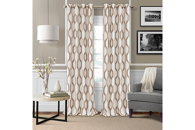 "Home Accents Renzo Ikat Geometric Linen Room Darkening Window Curtain Panel, Natural, 52"" x 84"", Natural, large"