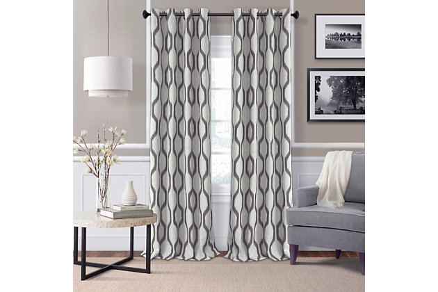 "Home Accents Renzo Ikat Geometric Linen Room Darkening Window Curtain Panel, Slate Gray, 52"" x 84"", Slate, large"
