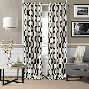 "Home Accents Renzo Ikat Geometric Linen Room Darkening Window Curtain Panel, Black, 52"" x 84"", Black, large"
