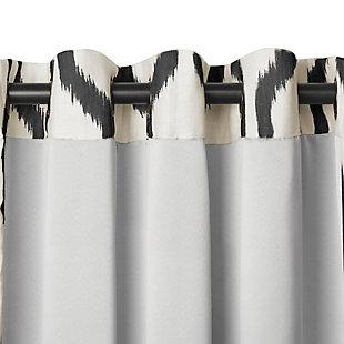 "Home Accents Renzo Ikat Geometric Linen Room Darkening Window Curtain Panel, Black, 52"" x 84"", Black, large"