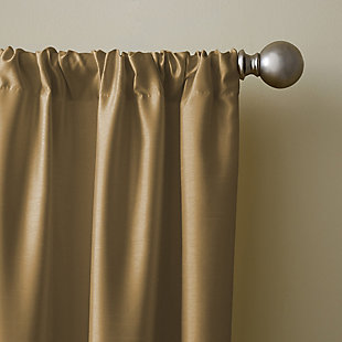 "Home Accents Versailles Faux Silk Room Darkening Window Curtain Panel, Gold, 52"" x 108"", Gold, large"