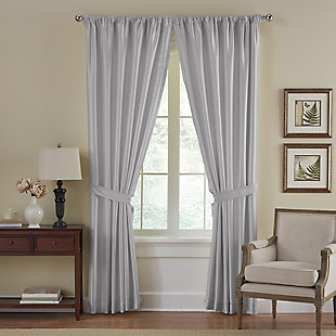 "Home Accents Versailles Faux Silk Room Darkening Window Curtain Panel, Gray, 52"" x 108"", Gray, large"