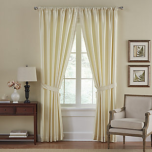 "Home Accents Versailles Faux Silk Room Darkening Window Curtain Panel, Ivory, 52"" x 84"", Ivory, rollover"