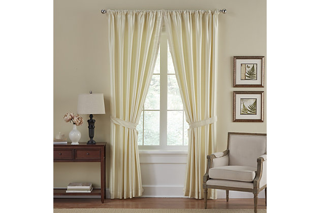 "Home Accents Versailles Faux Silk Room Darkening Window Curtain Panel, Ivory, 52"" x 84"", Ivory, large"