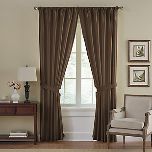 """Home Accents Versailles Faux Silk Room Darkening Window Curtain Panel, Chocolate, 52"""" x 84"""", Chocolate, large"""