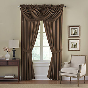 """Home Accents Versailles Faux Silk Waterfall Window Valance, Chocolate, 52"""" x 36"""", Chocolate, large"""