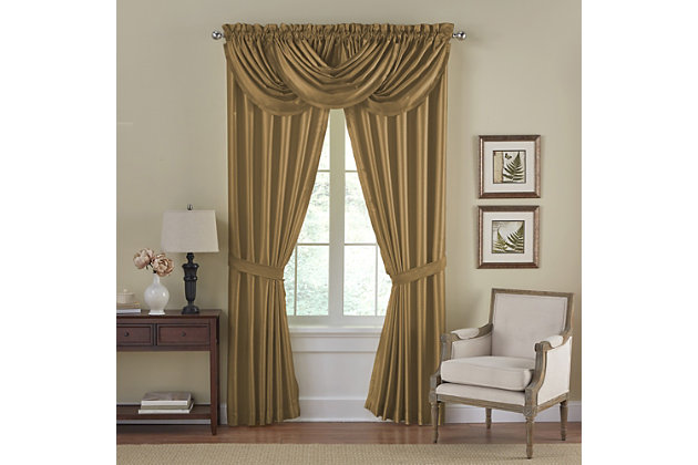 """Home Accents Versailles Faux Silk Waterfall Window Valance, Gold, 52"""" x 36"""", Gold, large"""