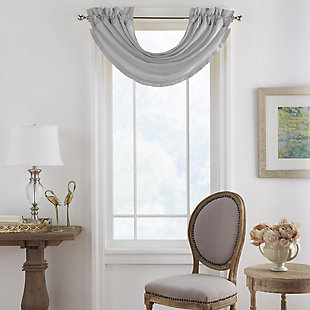 "Home Accents Versailles Faux Silk Waterfall Window Valance, Gray, 52"" x 36"", Gray, large"