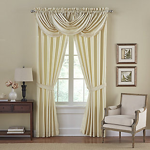 "Home Accents Versailles Faux Silk Waterfall Window Valance, Ivory, 52"" x 36"", Ivory, large"