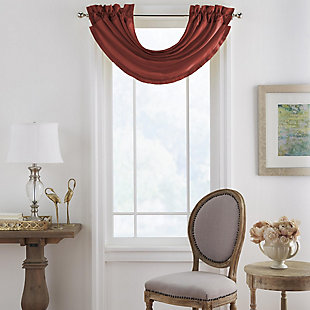 """Home Accents Versailles Faux Silk Waterfall Window Valance, Rouge, 52"""" x 36"""", Rouge, large"""