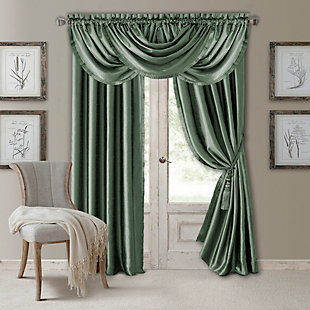 "Home Accents Versailles Faux Silk Waterfall Window Valance, Thyme, 52"" x 36"", Thyme, large"