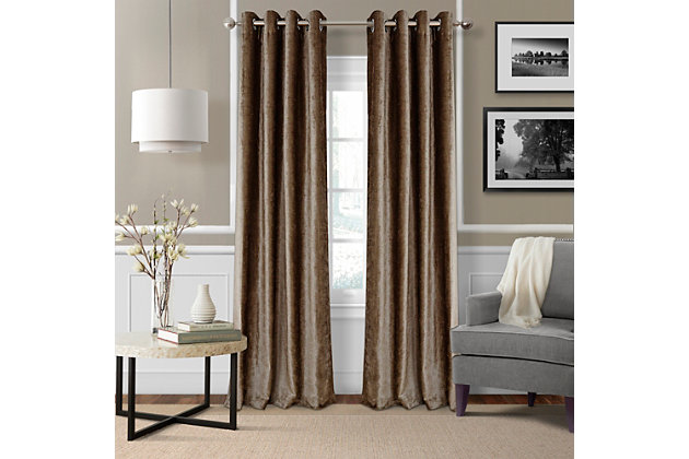 "Home Accents Victoria Velvet Room Darkening Window Curtain Panel, Bronze, 52"" x 84"", Bronze, large"