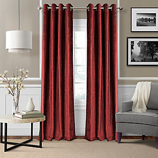 "Home Accents Victoria Velvet Room Darkening Window Curtain Panel, Red, 52"" x 84"", Red, large"