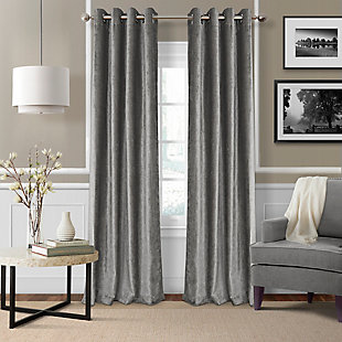 "Home Accents Victoria Velvet Room Darkening Window Curtain Panel, Silver, 52"" x 84"", Silver, large"