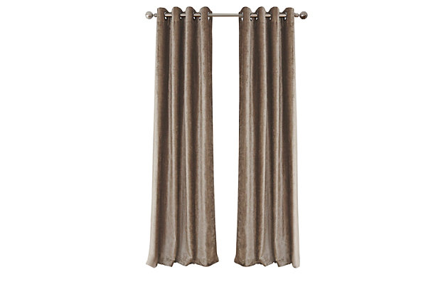 """Home Accents Victoria Velvet Room Darkening Window Curtain Panel, Taupe, 52"""" x 84"""", Taupe, large"""