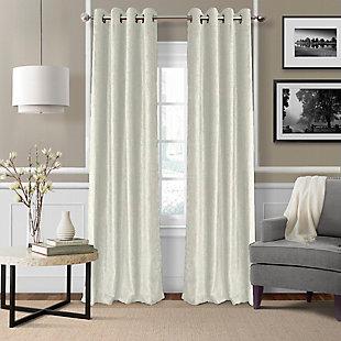 "Home Accents Victoria Velvet Room Darkening Window Curtain Panel, Ivory, 52"" x 84"", Ivory, large"