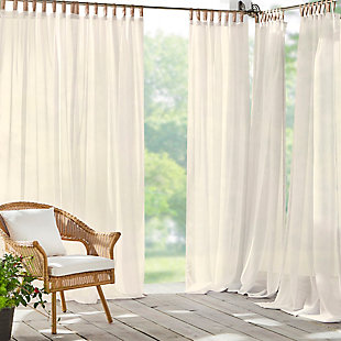 "Home Accents Darien Indoor/Outdoor Sheer Tab Top Window Curtain, Ivory, 52"" x 84"", Ivory, large"