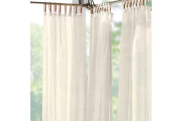 """Home Accents Darien Indoor/Outdoor Sheer Tab Top Window Curtain, Ivory, 52"""" x 84"""", Ivory, large"""