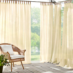 """Home Accents Darien Indoor/Outdoor Sheer Tab Top Window Curtain, Natural, 52"""" x 95"""", Natural, large"""