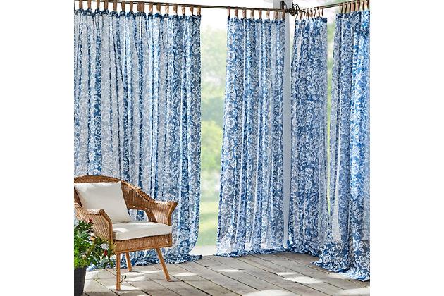 "Home Accents Verena Floral Indoor/Outdoor Sheer Tab Top Window Curtain, Indigo, 52"" x 95"", Indigo, large"