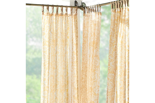 "Home Accents Verena Floral Indoor/Outdoor Sheer Tab Top Window Curtain, Marigold, 52"" x 84"", Marigold, large"