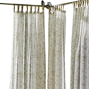 "Home Accents Verena Floral Indoor/Outdoor Sheer Tab Top Window Curtain, Sand, 52"" x 84"", Sand, rollover"