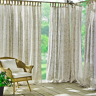 "Home Accents Verena Floral Indoor/Outdoor Sheer Tab Top Window Curtain, Sand, 52"" x 84"", Sand, large"
