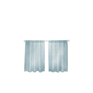 "Home Accents Cameron Linen Rod Pocket Kitchen Tier Window Curtain Set of 2, Mineral, 30"" x 36"", Mineral, rollover"