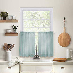 "Home Accents Cameron Linen Rod Pocket Kitchen Tier Window Curtain Set of 2, Mineral, 30"" x 36"", Mineral, large"