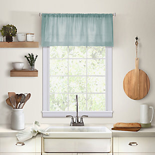 "Home Accents Cameron Linen Rod Pocket Kitchen Window Valance, Mineral, 60"" x 15"", Mineral, large"