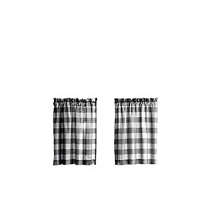"Home Accents Farmhouse Living Buffalo Check Kitchen Tier Window Curtain Set of 2, Black/White, 30"" x 24"", Black, rollover"